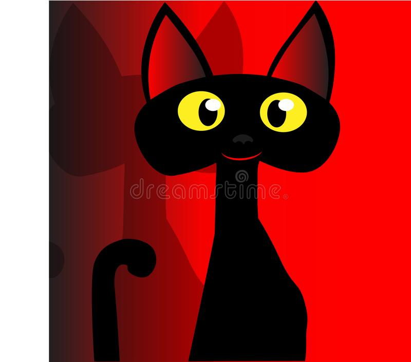 Red background and black cat whith yellow eyes vector illustration
