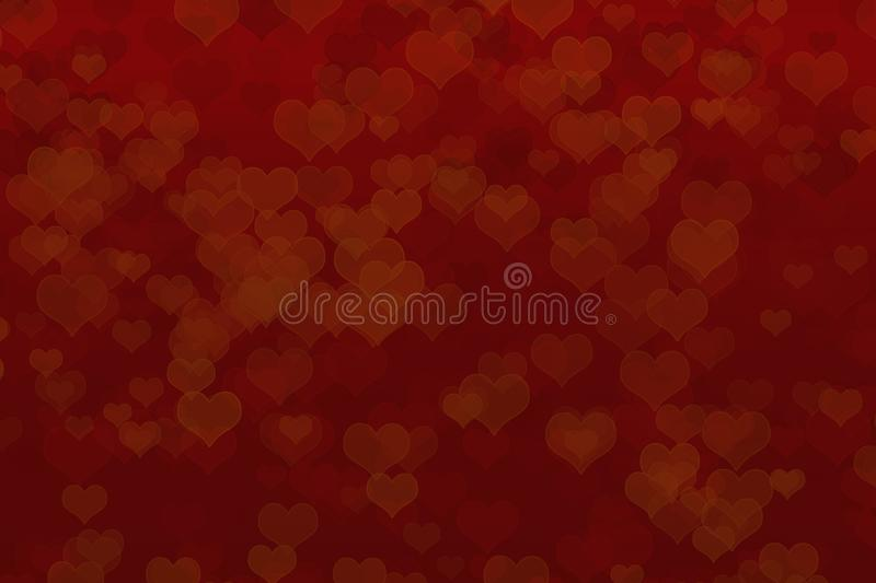 Red background with bokeh effects. Herts in different tones on a red background. St. valentine`s day postcard. Free space royalty free illustration