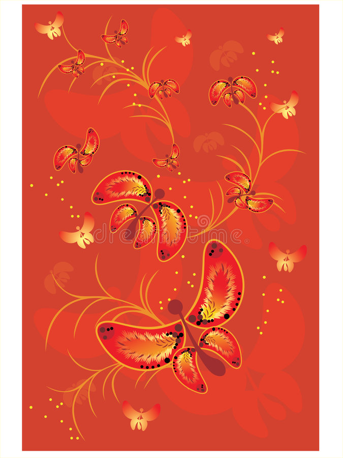 Red background with butterfly stock illustration
