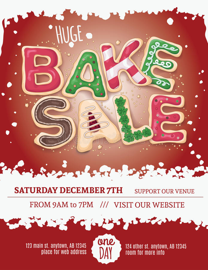Download Red Background Christmas Bake Sale Flyer Stock Vector - Image: 62257044