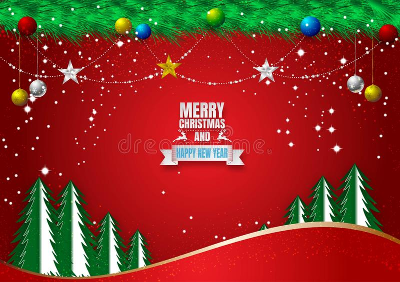 Red Background for Christmas Holiday Season with Golden, Silver and Blue Balls. Vector illustration, Vector illustration stock illustration