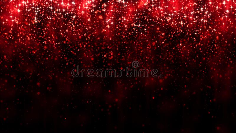 Red background falling glitter particles. Beautiful festive sparkling background. Particle bokeh magic light. Valentines day royalty free stock image