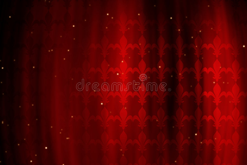 Red background with figure of a royal lily royalty free illustration