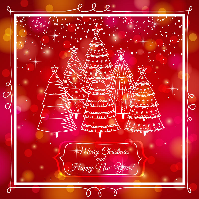 Red background with forest of christmas trees, vec royalty free illustration