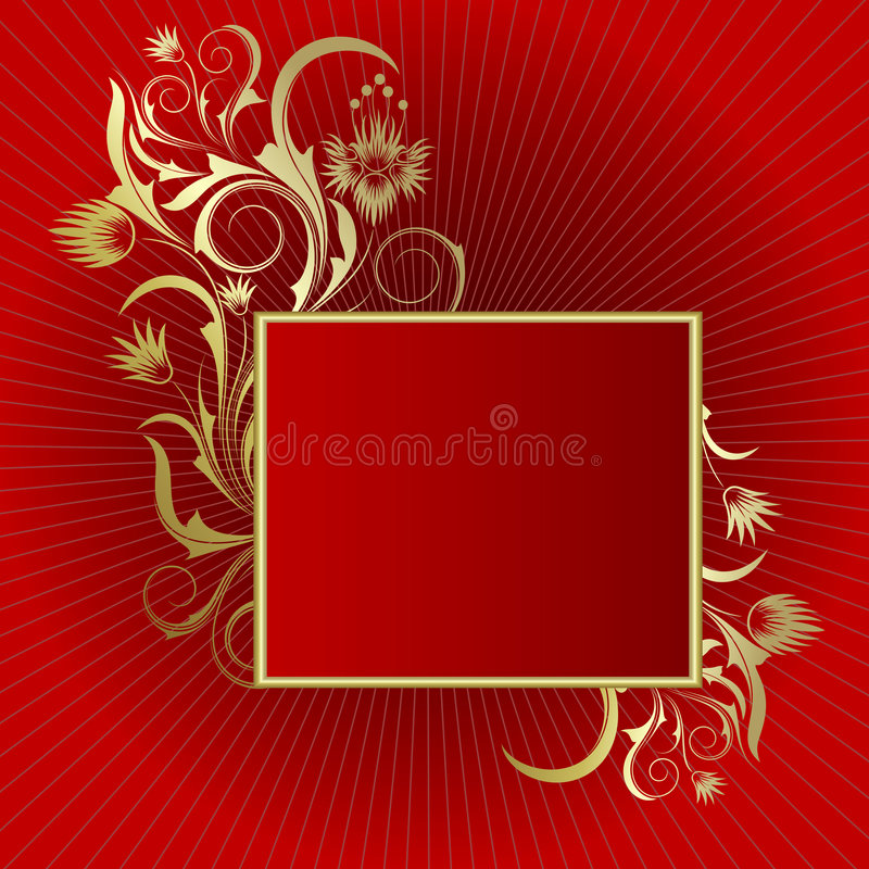 Red background with frame vector illustration