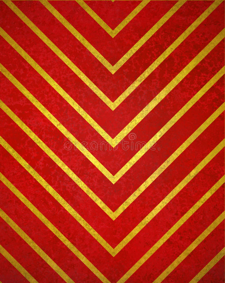 Red background gold chevron pattern design with texture royalty free stock photo
