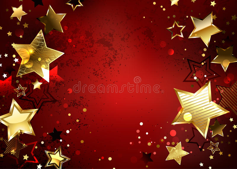 Red background with gold stars vector illustration