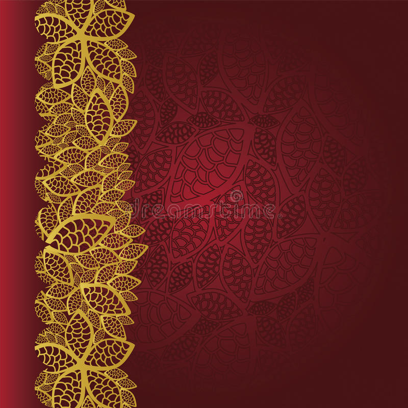 Red background with golden leaves border royalty free illustration