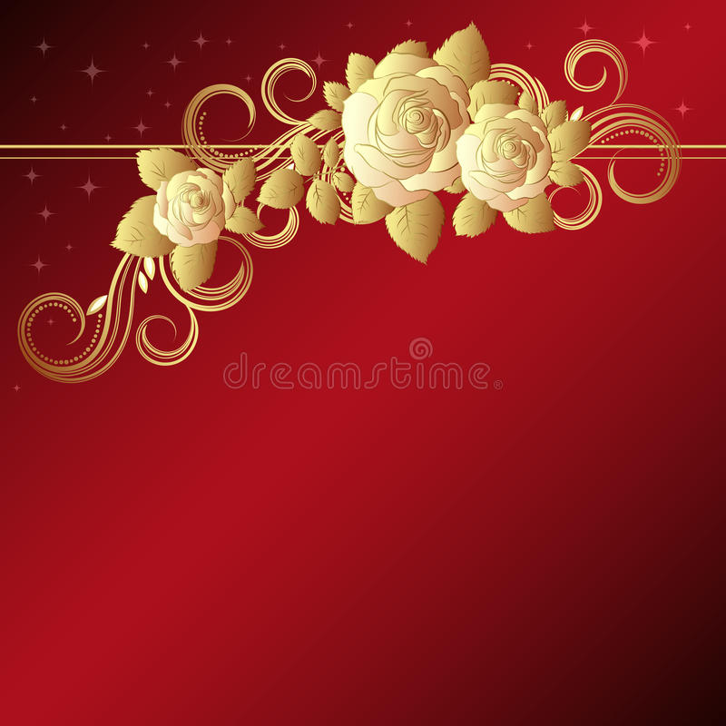 Download Red Background With Golden Roses Stock Vector - Illustration of elegant, blossom: 14140921