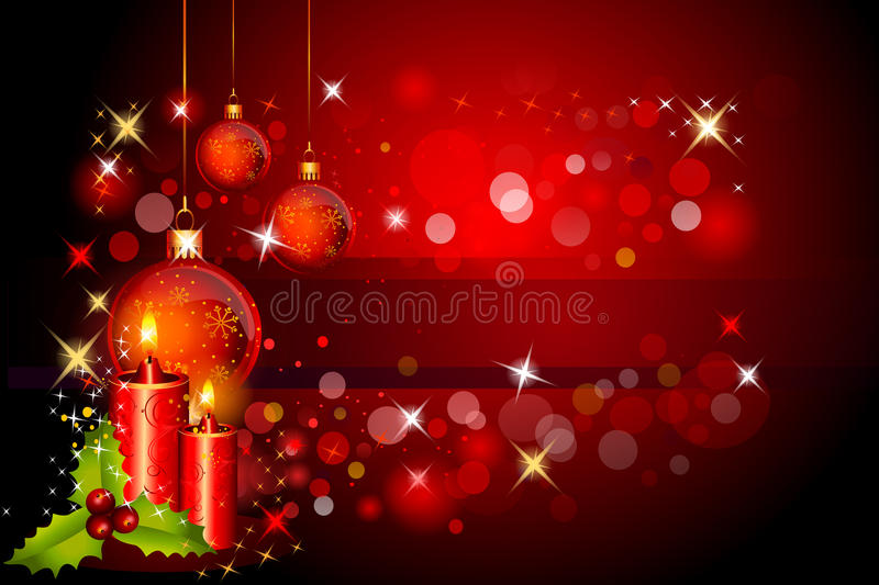 Download Red Background With Jingle Ball And Candles Stock Illustration - Illustration: 26519481