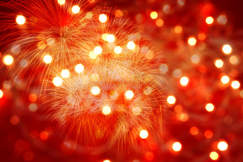 Red background with lights and fireworks royalty free stock image