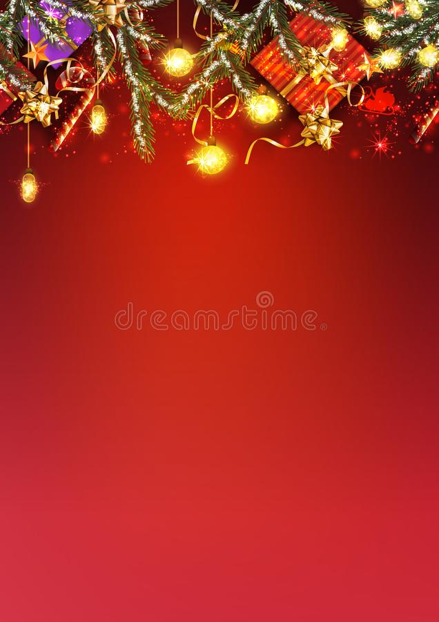 Red background for Merry Christmas and happy New Year - Vector. Illustration royalty free stock photography