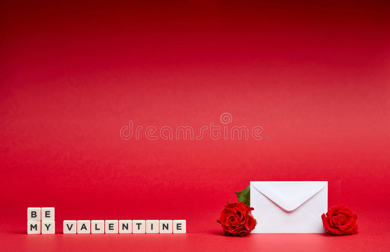 Red background with message and flowers stock images