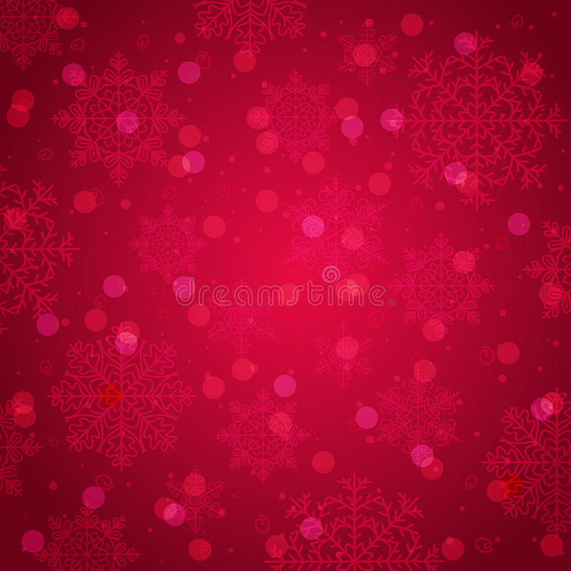 Red background with snowflake and bokeh, vector vector illustration
