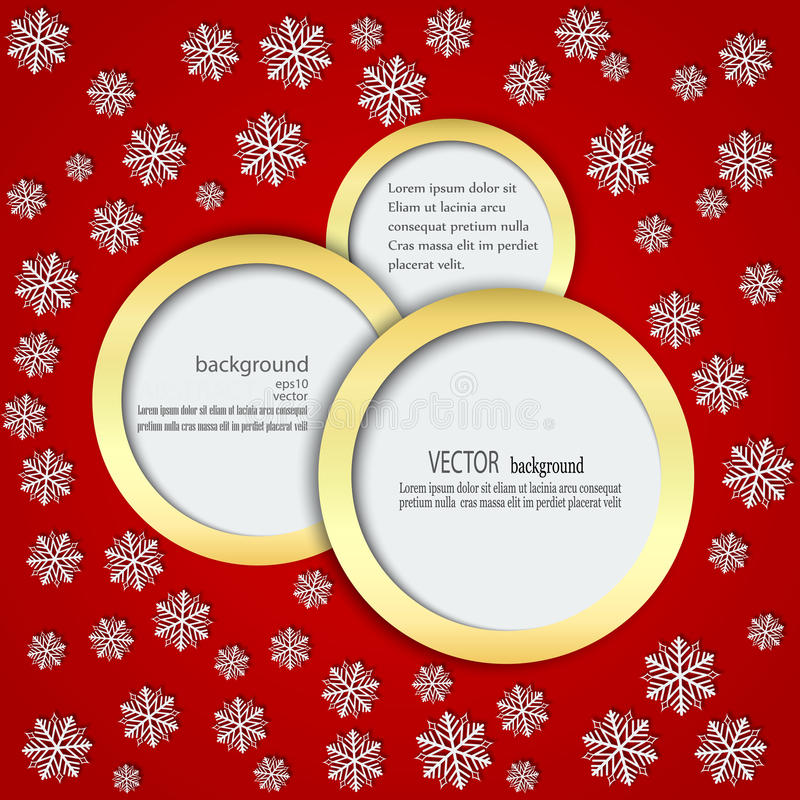 Red background with snowflakes in Circles in a gold frame stock illustration