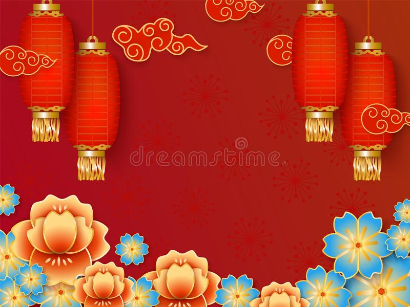 Red background template with empty space for celebrating Chinese New Year. vector illustration