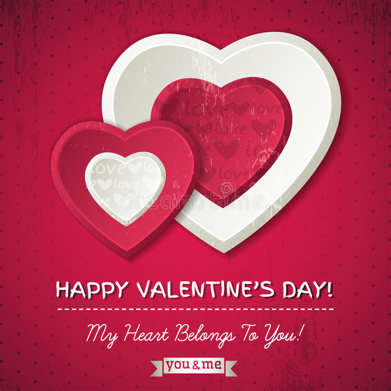Red background with two valentine hearts and wishes text royalty free stock image