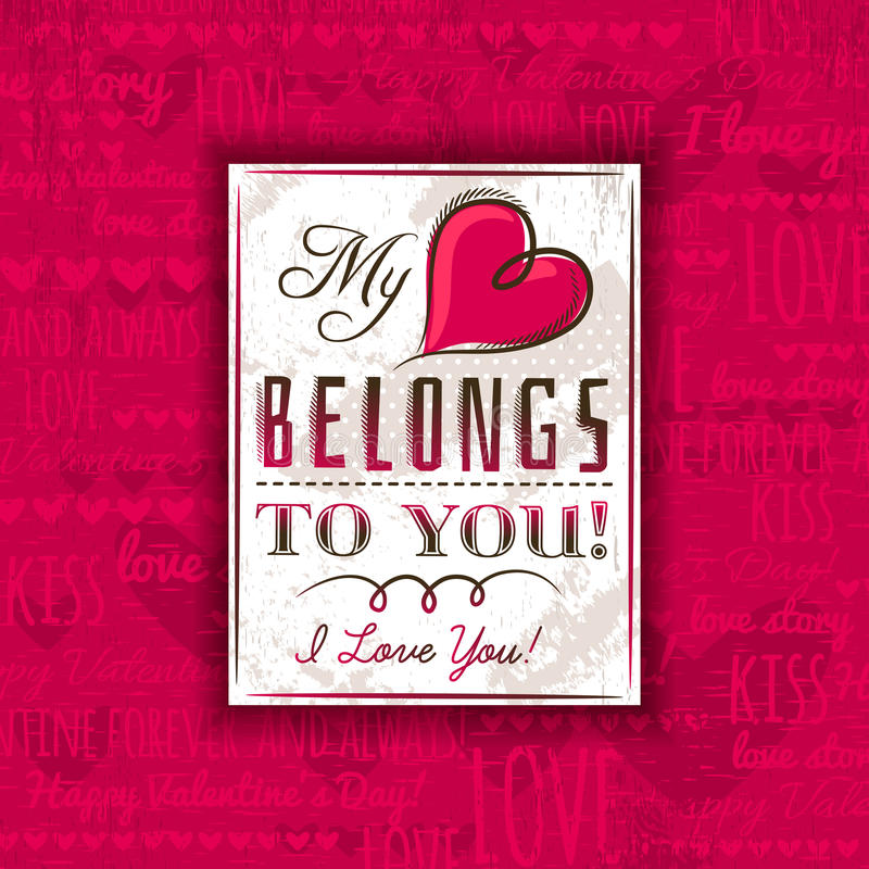 Red background with valentine heart and greeting text, vector royalty free stock photos