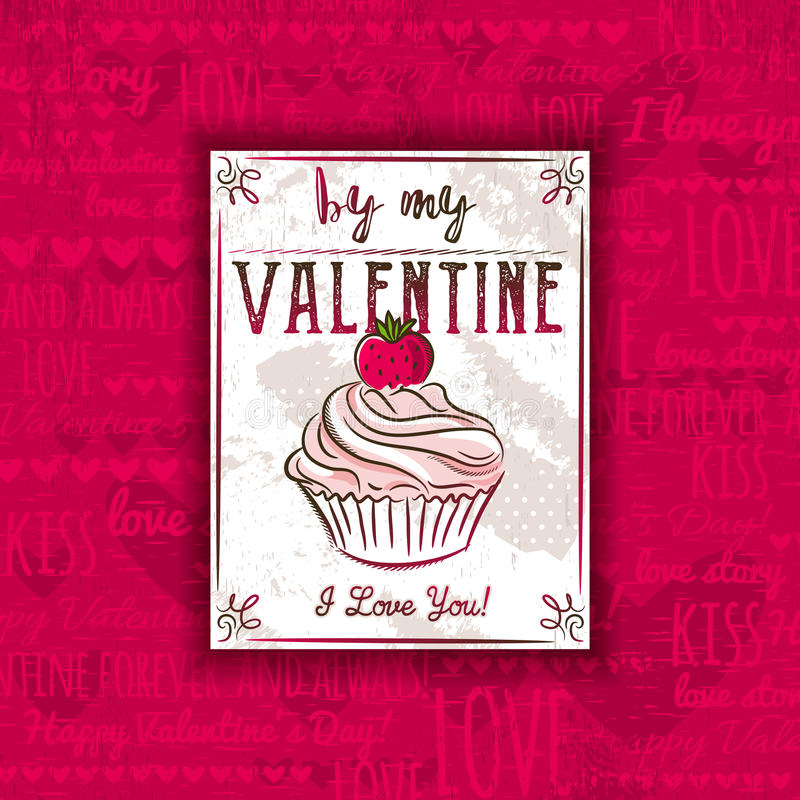 Red background with valentine heart, muffin and greeting text, stock image
