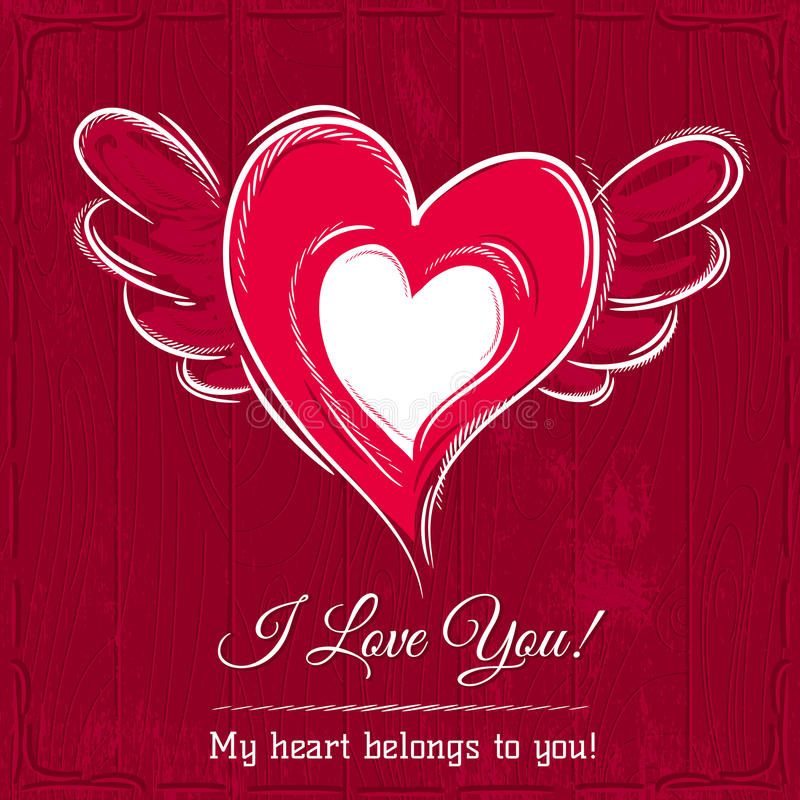 Red background with valentine heart, vector stock image