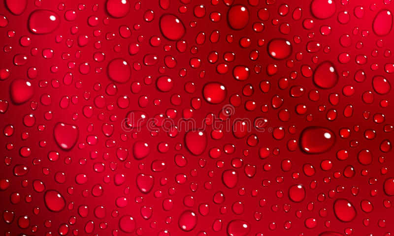 Red background of water drops. Background of water droplets on the surface in red colors stock illustration