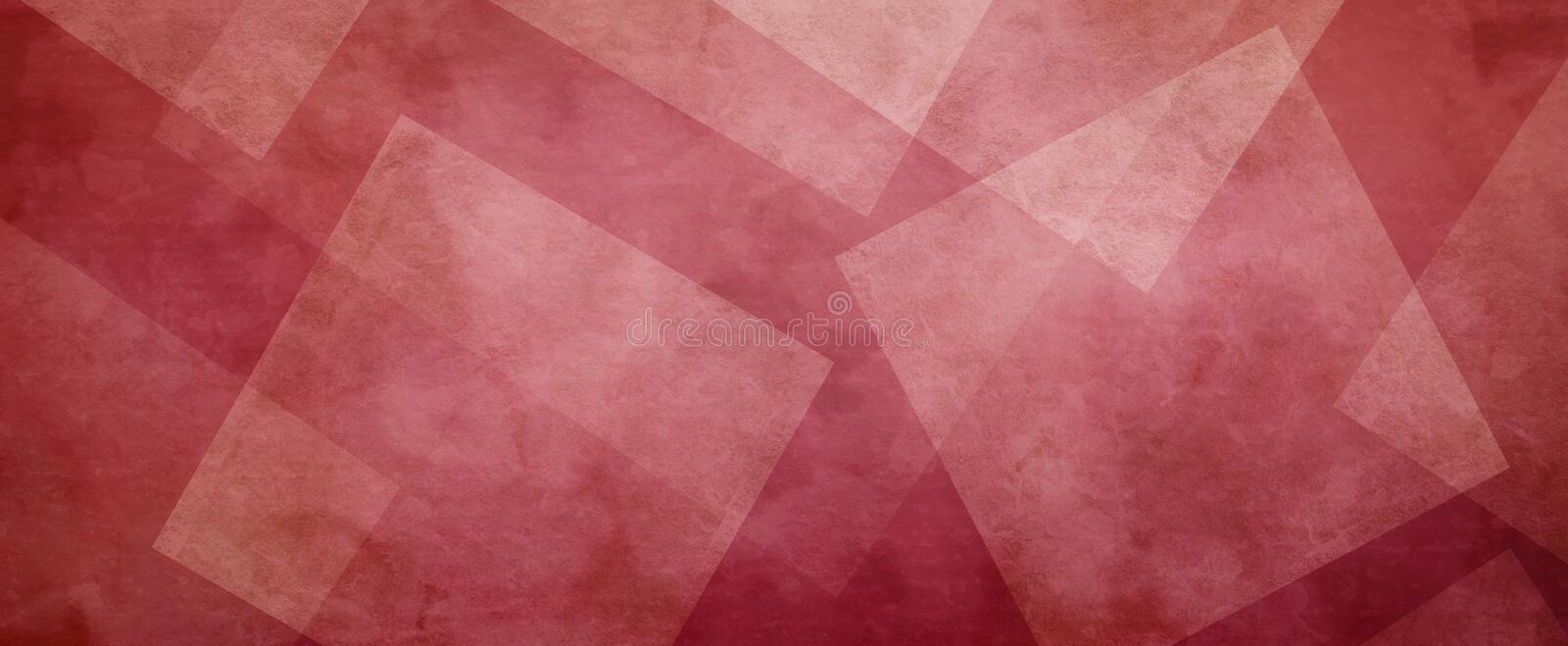 Red background with white layers of textured transparent diamonds or square shapes in geometric design stock images