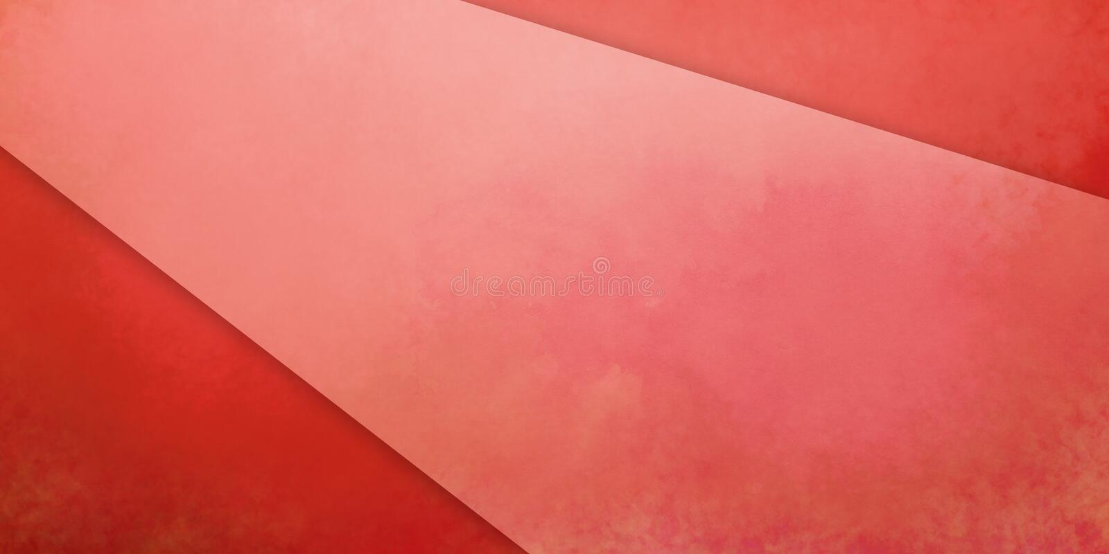 Red background with white and pink diagonal stripe or shape with watercolor stains and old vintage grunge texture royalty free illustration