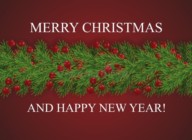 Red background with wishes Merry Christmas and happy New Year and border of realistic looking Christmas tree branches decorated vector illustration