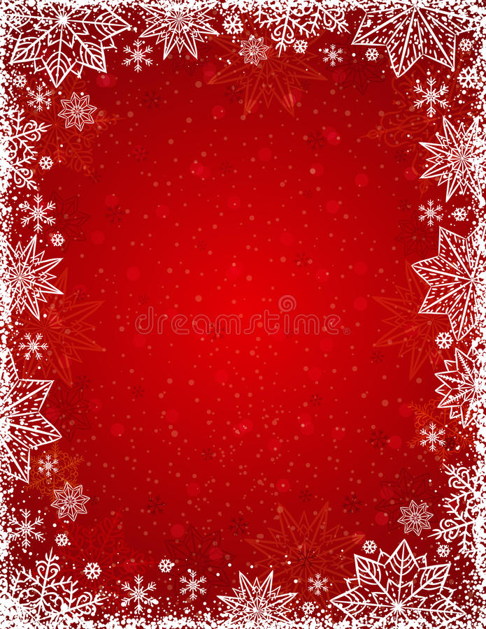 Free Red Background With Frame Of Snowflakes And Stars, Vector Stock Image - 78982861