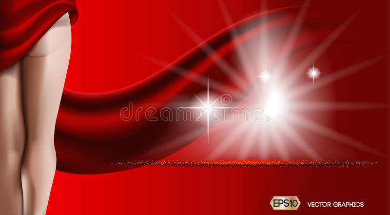 Red background with woman body. Skin care or ads template. 3D Realistic Woman silhouette illustration. Pastel Nude vector illustration