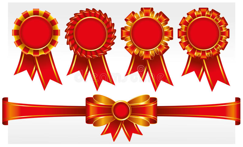 Download Red badges with ribbons stock vector. Image of achievement - 17967631