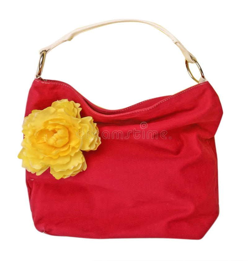 Free Red Bag And Yellow Flower Royalty Free Stock Photography - 9689707