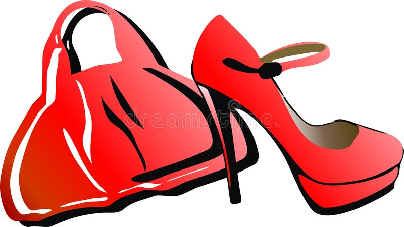 Download Red bag and shoes stock illustration. Image of accessories - 27608722