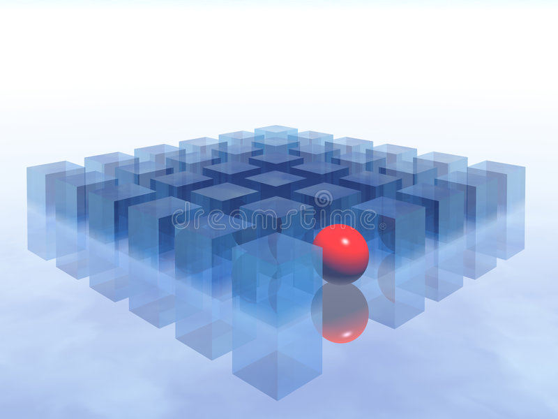 Red ball & boxes royalty free illustration
