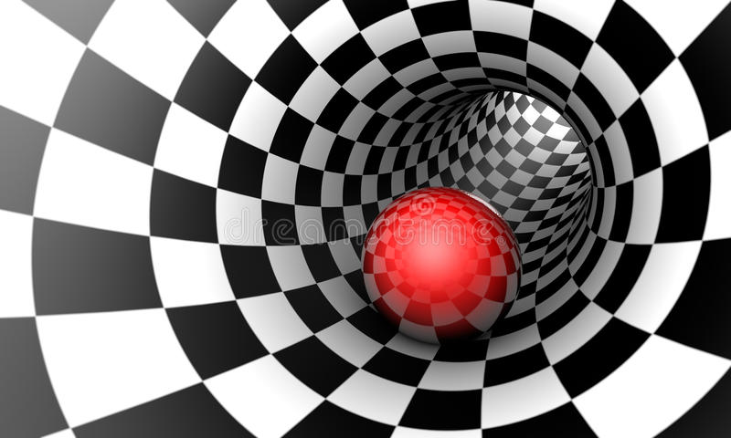 Red ball in a chess tunnel. Predetermination. The space and time. Predetermination. Red ball in a chess tunnel concept image. The space and time. 3D illustration stock illustration