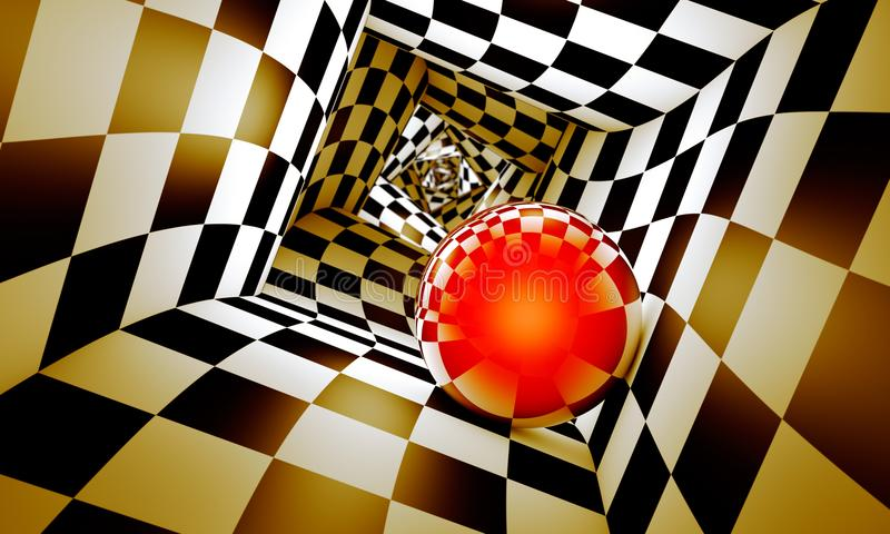 Red ball in a chess tunnel. Predetermination. The space and time. Geometric combination. Red ball in a chess tunnel concept image. The space and time. 3D royalty free illustration