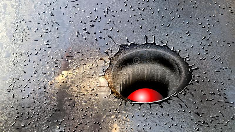 Red ball fall into wet glass vector illustration