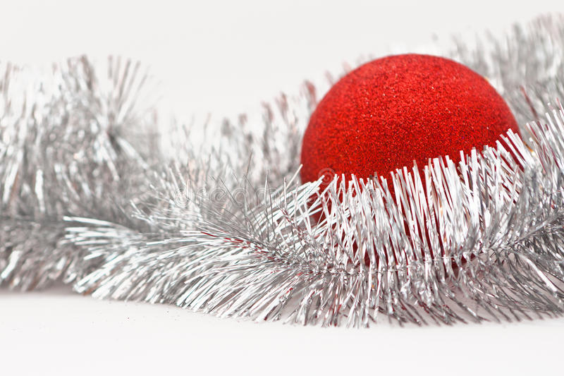 Download Red ball and garland stock photo. Image of decor, circle - 27098732
