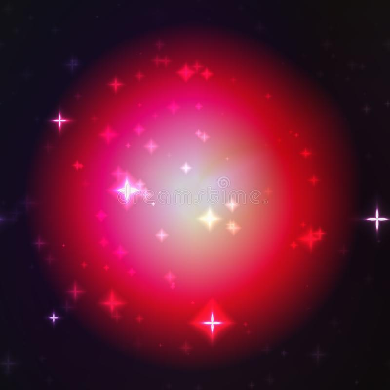 Red ball glow with stars texture, on the black background.  stock illustration