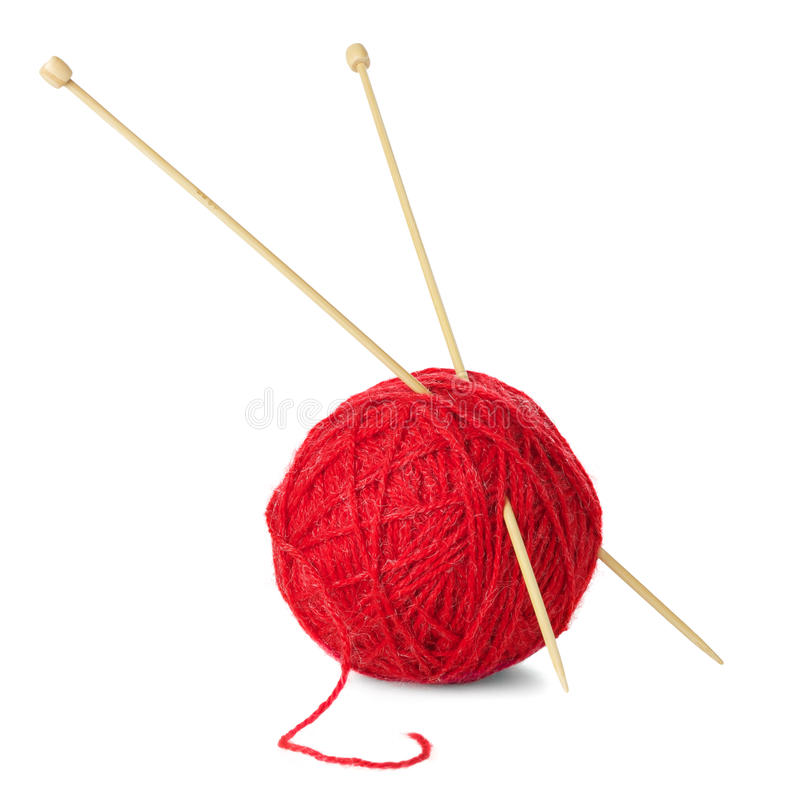 Free Red Ball Of Wool And Knitting Needles Royalty Free Stock Photo - 40233715