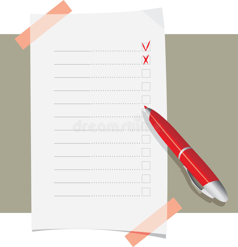 Red ball pen and application form template stock image