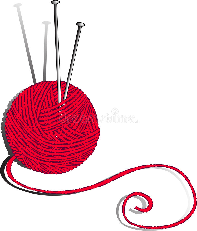 Red Ball of Yarn and Knitting Needles royalty free illustration