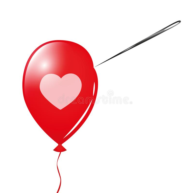 Red balloon with heart and needle royalty free illustration