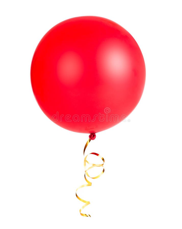 Red balloon photo with gold string or ribbon isolated stock photography
