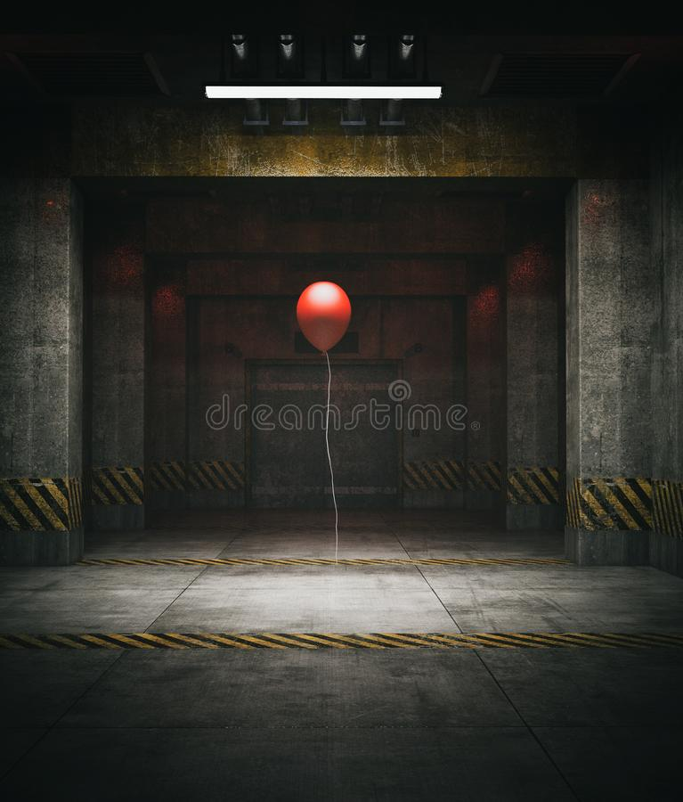 Red balloon in restricted area. 3d illustration royalty free illustration