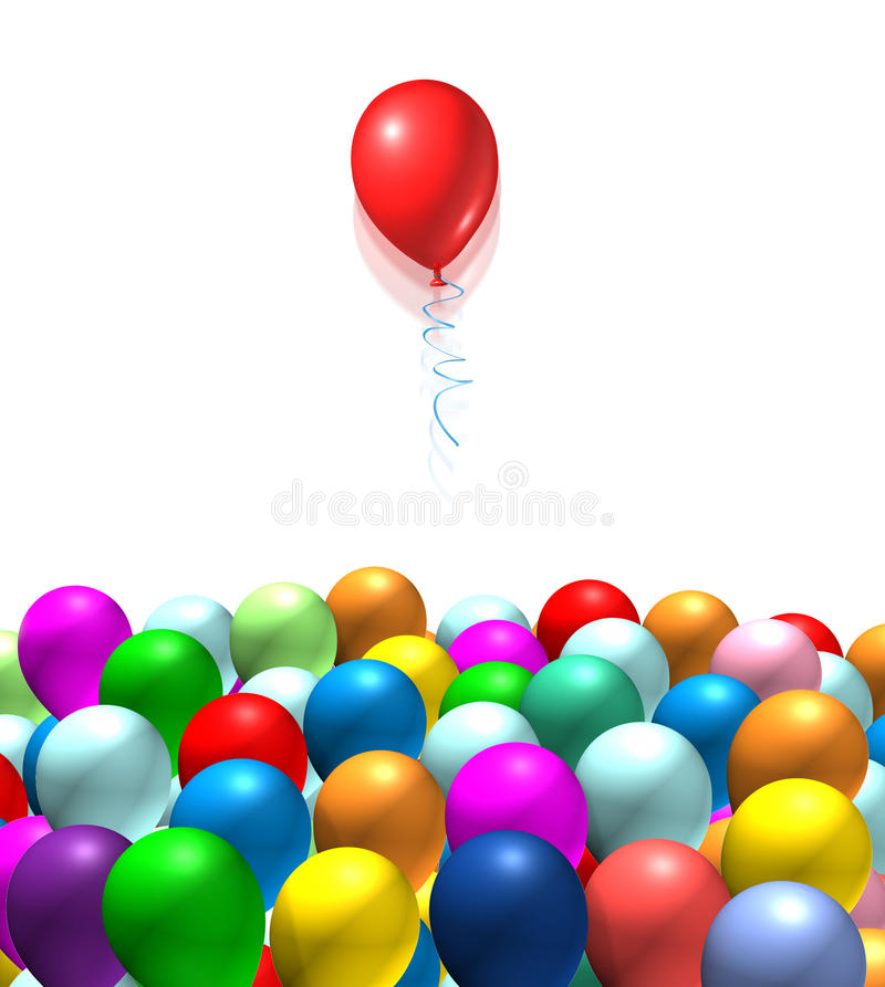 Download Red Balloon Rising From The Pack  Isolated Stock Illustration - Illustration: 16075219