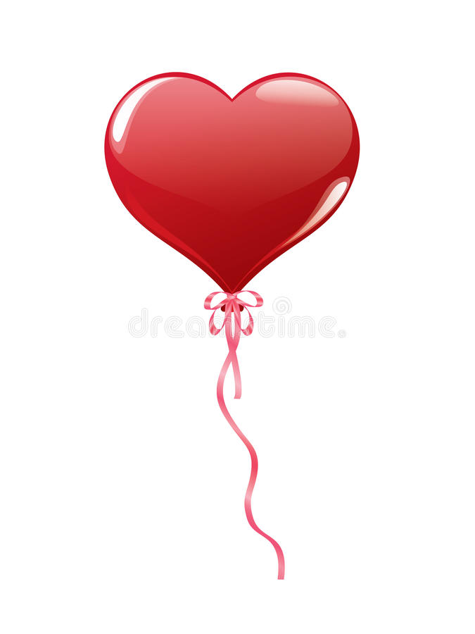 Download Red Balloon In Shape Of Heart Stock Illustration - Image: 22958878
