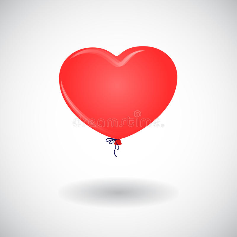 A red balloon in the shape of heart. On white royalty free illustration