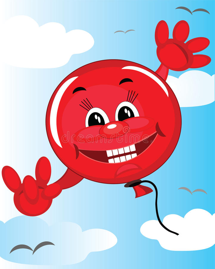 Download Red balloon in the sky stock vector. Image of victory - 21451504