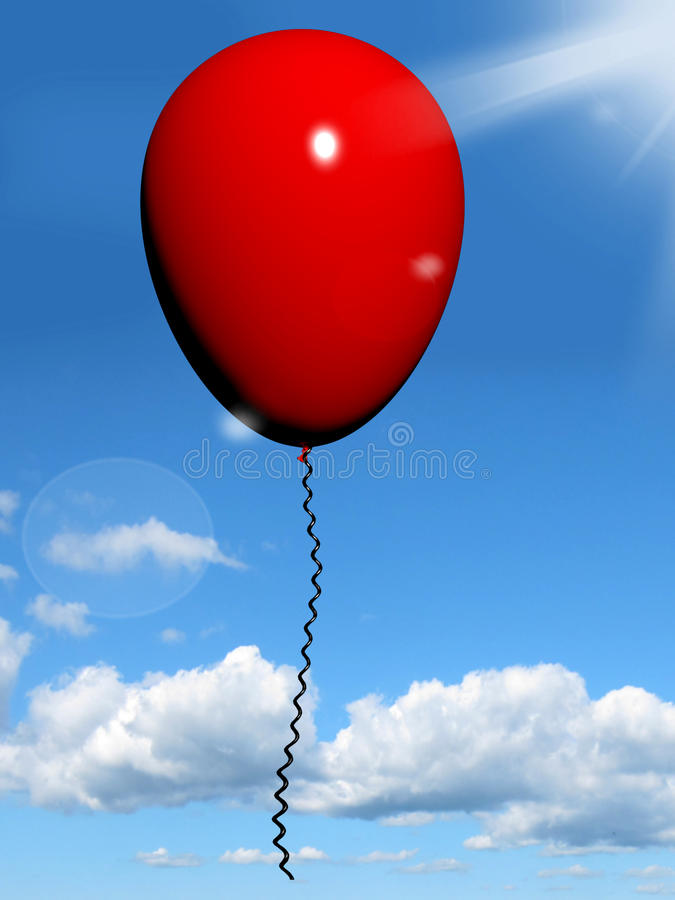 Download Red Balloon In The Sky For Celebration Or Party Stock Illustration - Illustration: 24615320